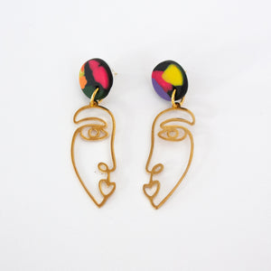 Rainbow // Brass Face Earrings