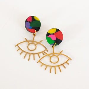 Rainbow // Brass Eye Earrings