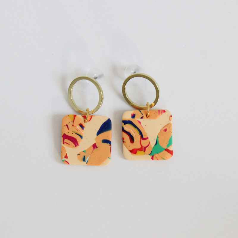 Warm Heritage Print + Brass Square Earrings