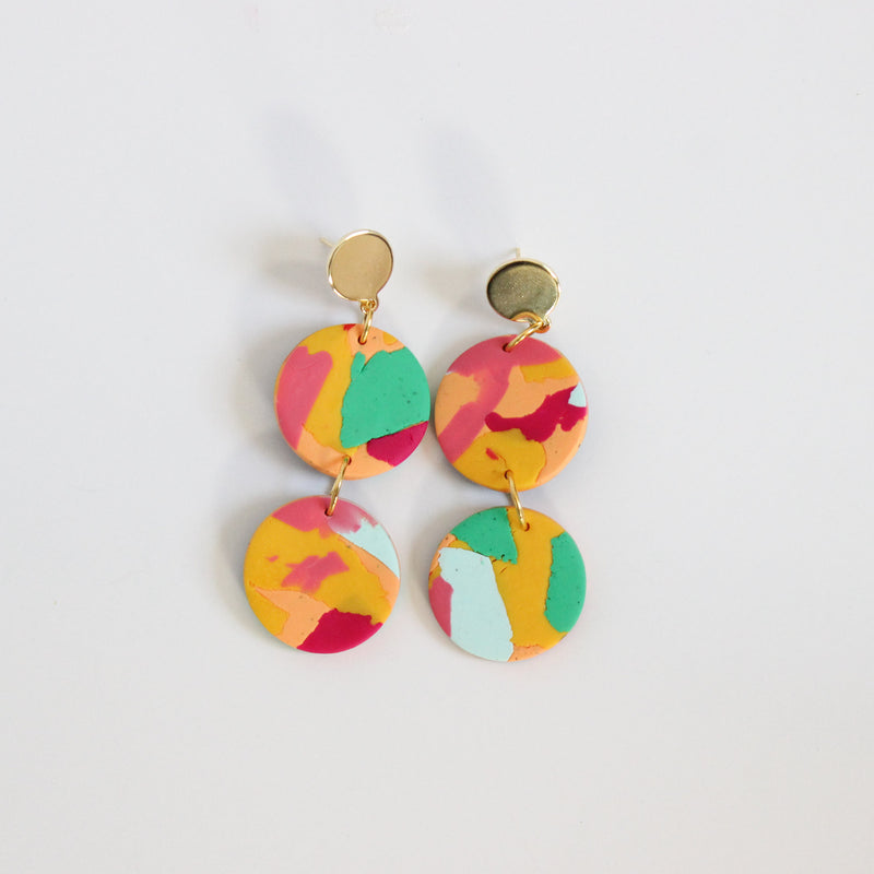 Warm Heritage Print + Brass Layered Earrings