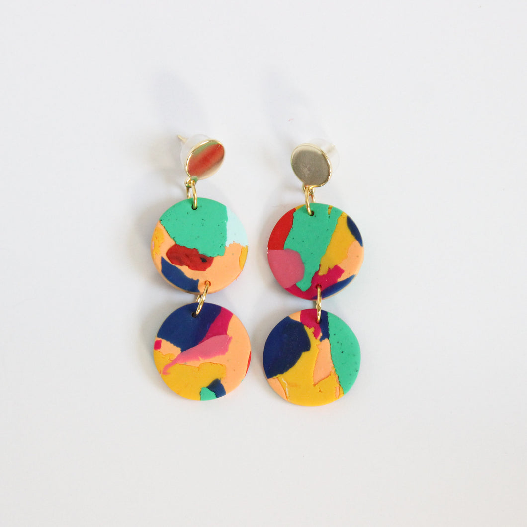 Heritage Print + Brass Layered Earrings