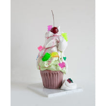 Load image into Gallery viewer, Gooey cement icing froths over onto the marble base of this mixed media sculpture. Resin accents resembling gems and Legos bring bright splashes of color to the neutral colored confectionary delight. Oh, and the cherry on top!