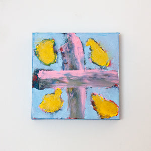 "Yellow, Pink and Blue | 8"" x 8"""