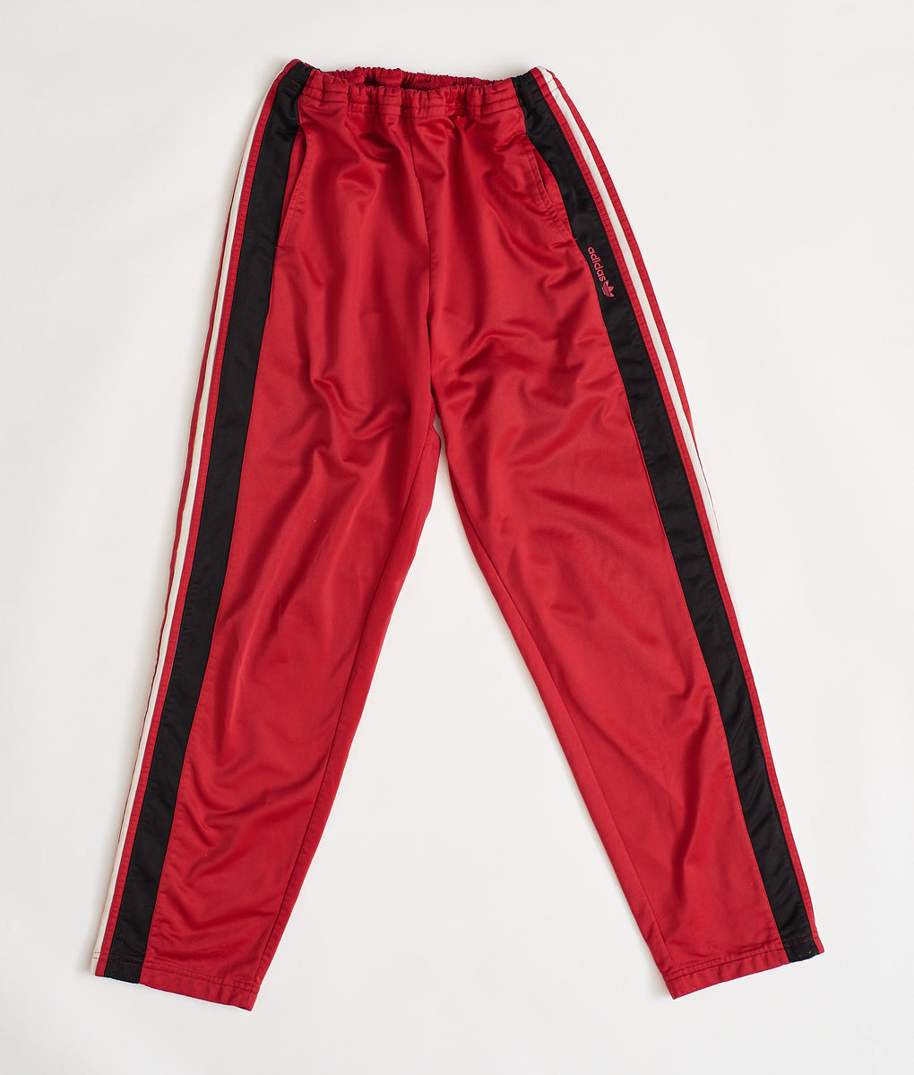Vintage Adidas Popper Track Pants Red/Blk (S) - FROTHLYF