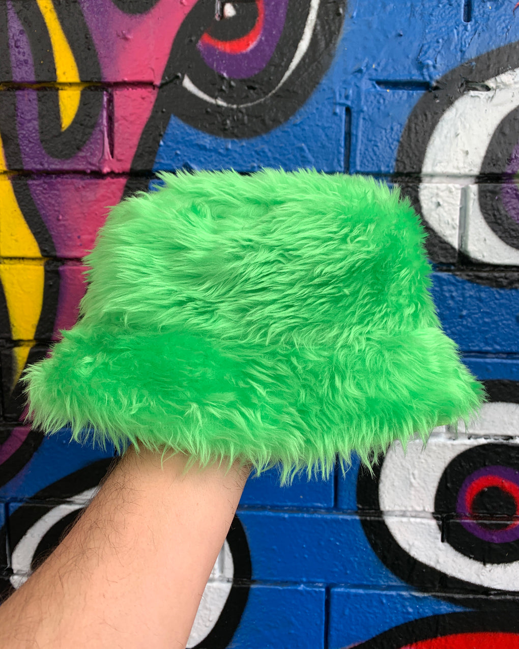 Neon Green Fluffy Bucket Hat - FROTHLYF