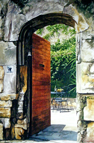 CHATEAUNEUF COURTYARD - ORIGINAL PAINTING