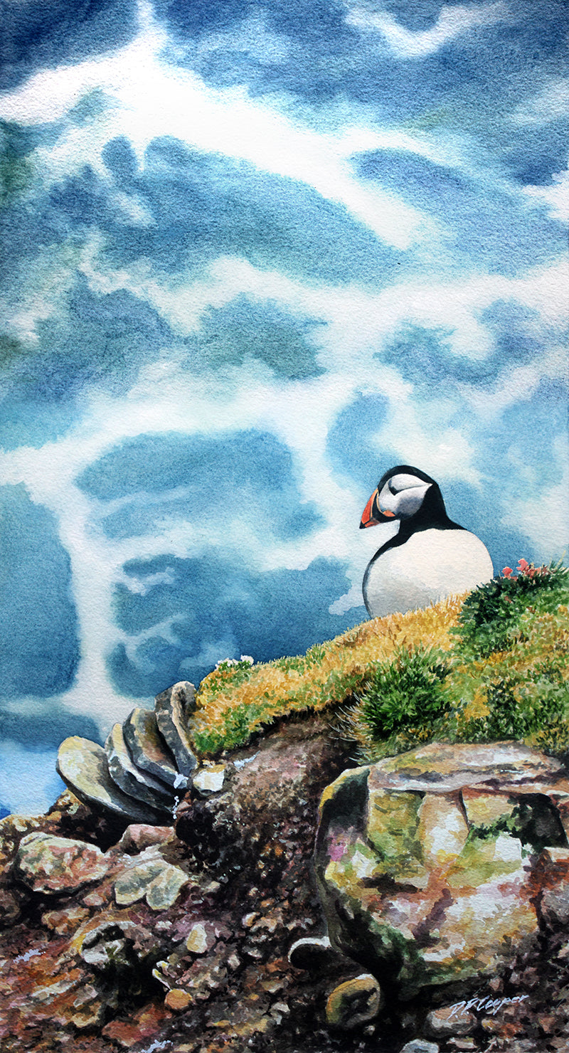 ABOVE THE SWELL - PUFFIN - ORIGINAL PAINTING