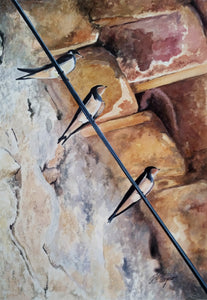SWALLOWS IN THE SHADE - ORIGINAL PAINTING
