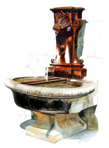 CHATEAUNEUF FOUNTAIN - ORIGINAL PAINTING