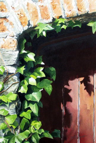 RED DOOR AND IVY - ORIGINAL PAINTING