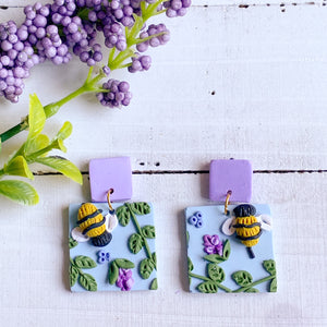 Lavender Bee Earrings (Square)