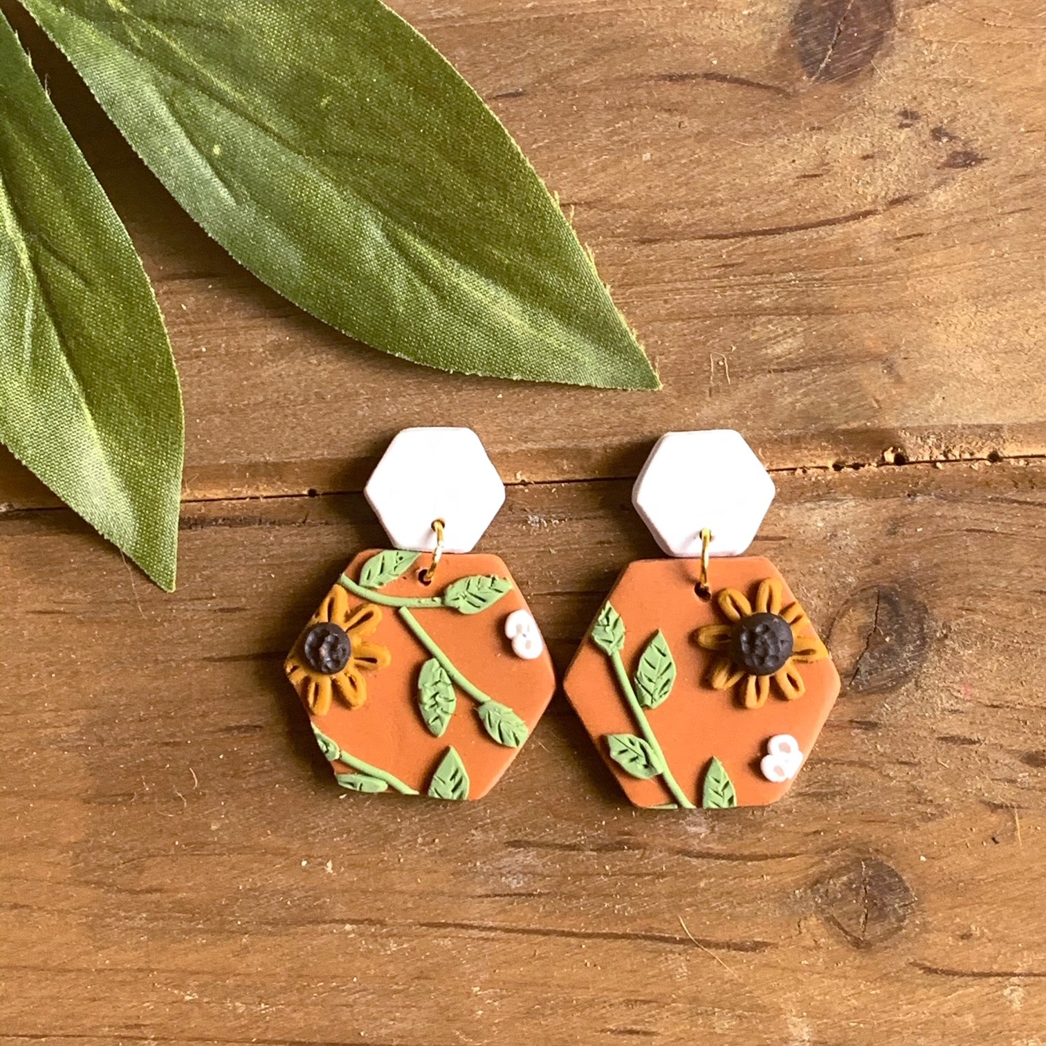 Sunflower Slab Earrings (Hexagon)