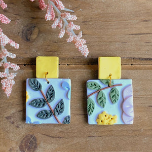 Spring Floral Earrings (Square)