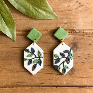 Leafy Green Slab Earrings (Long Hexagon)