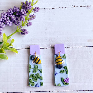 Lavender Bee Earrings (Rounded Rectangle)