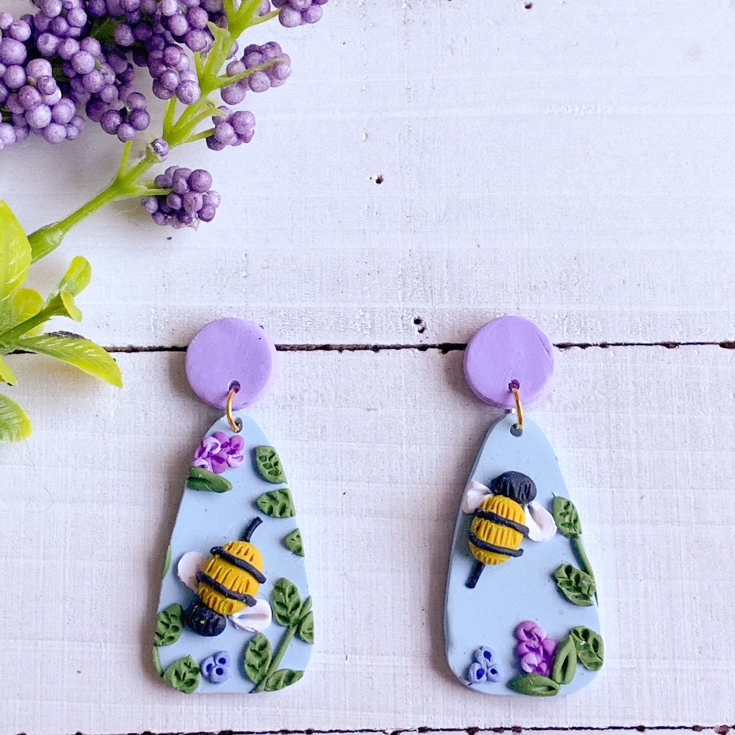 Lavender Bee Earrings (Teardrop)