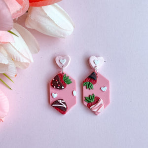 Chocolate Covered Strawberry Slab Earrings (Long Hexagon)