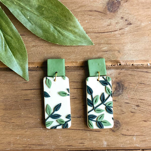 Leafy Green Slab Earrings (Rectangle)