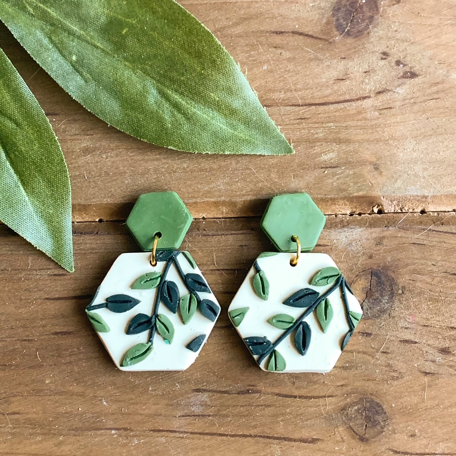 Leafy Green Slab Earrings (Hexagon)