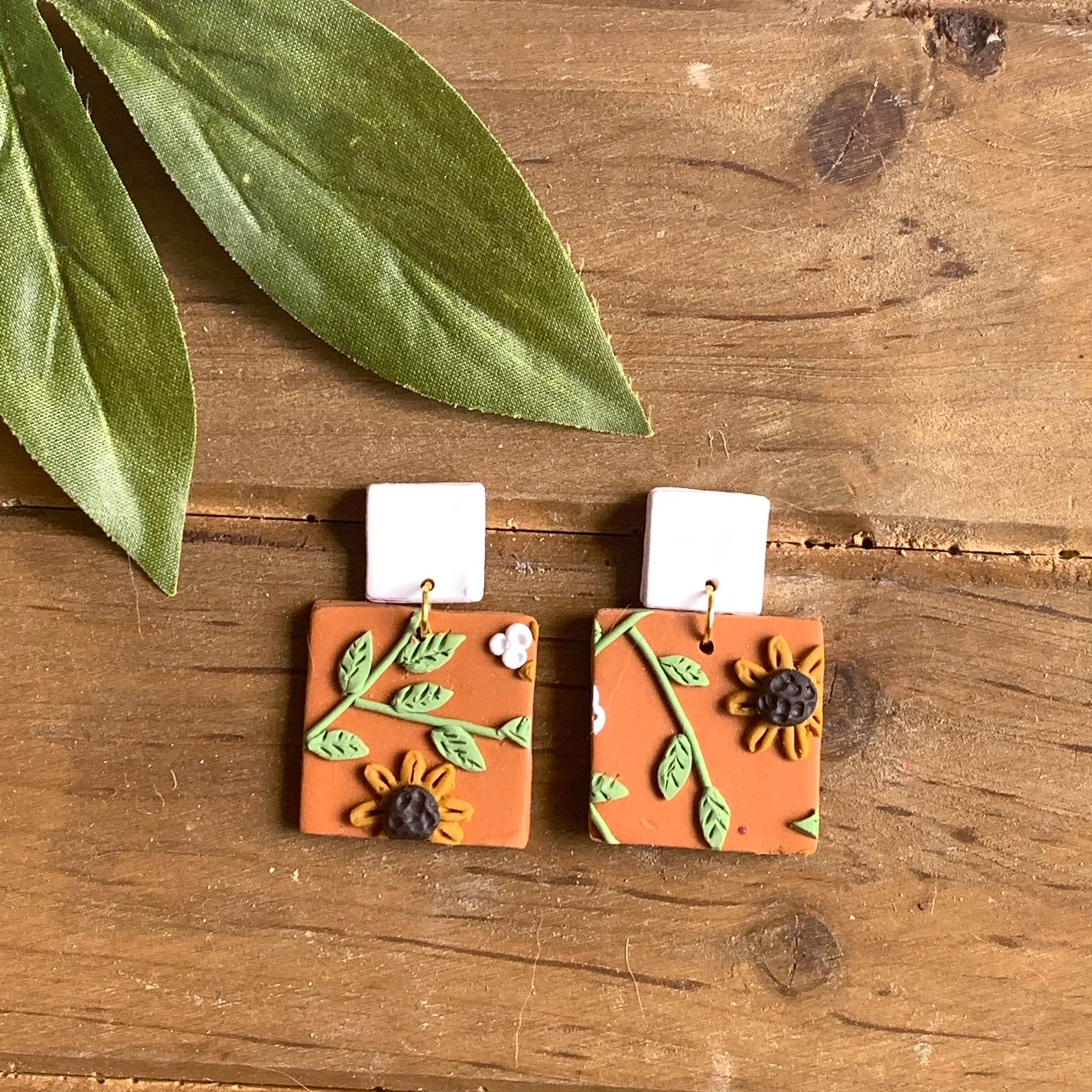 Sunflower Slab Earrings (Square)
