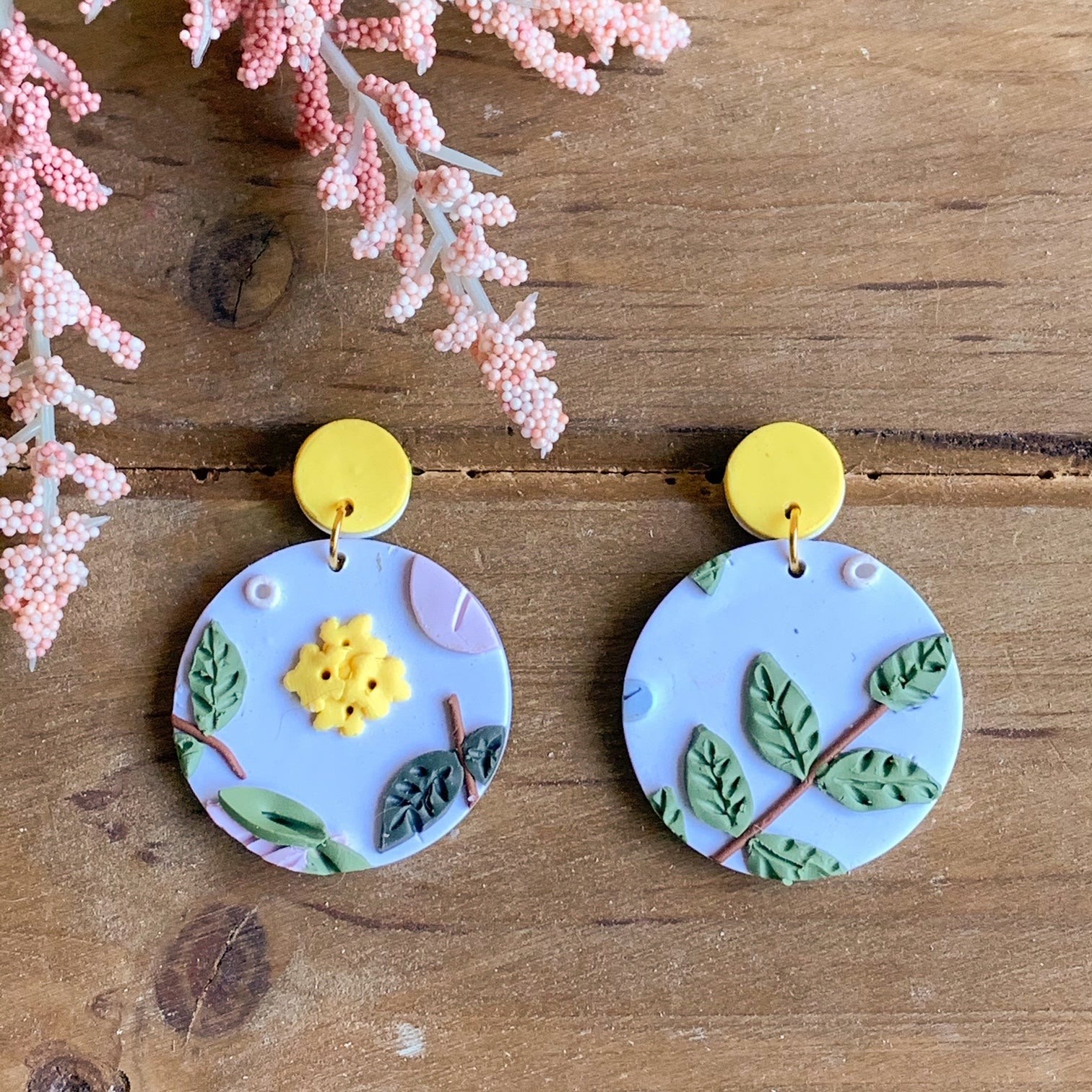 Spring Floral Earrings (Circle)