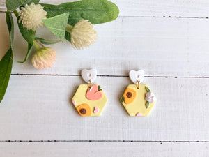 Peachy Love Slab Earrings (Hexagon)