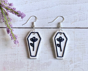 Marble Floral Coffin Earrings