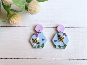 Bee and Lavender Slab Earrings (Hexagons)