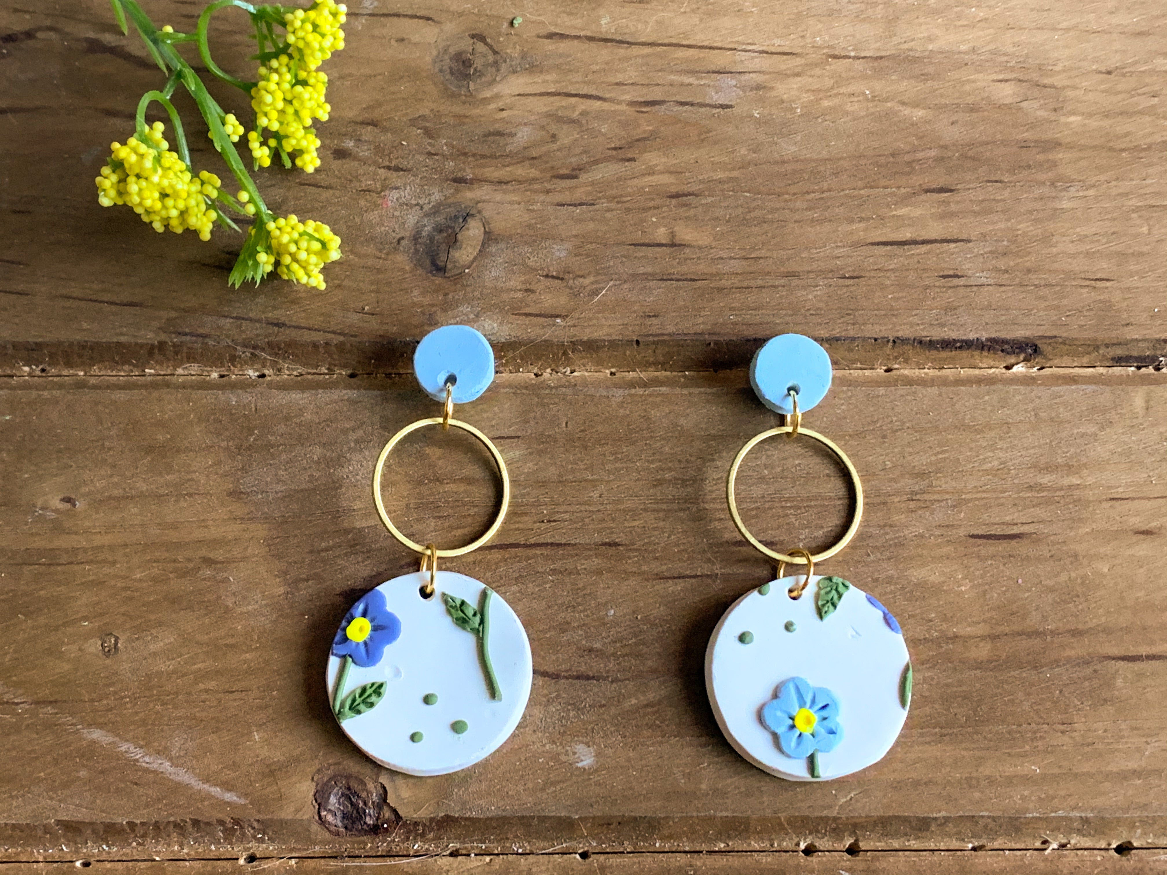 Baby Blue Slab Earrings (circle)