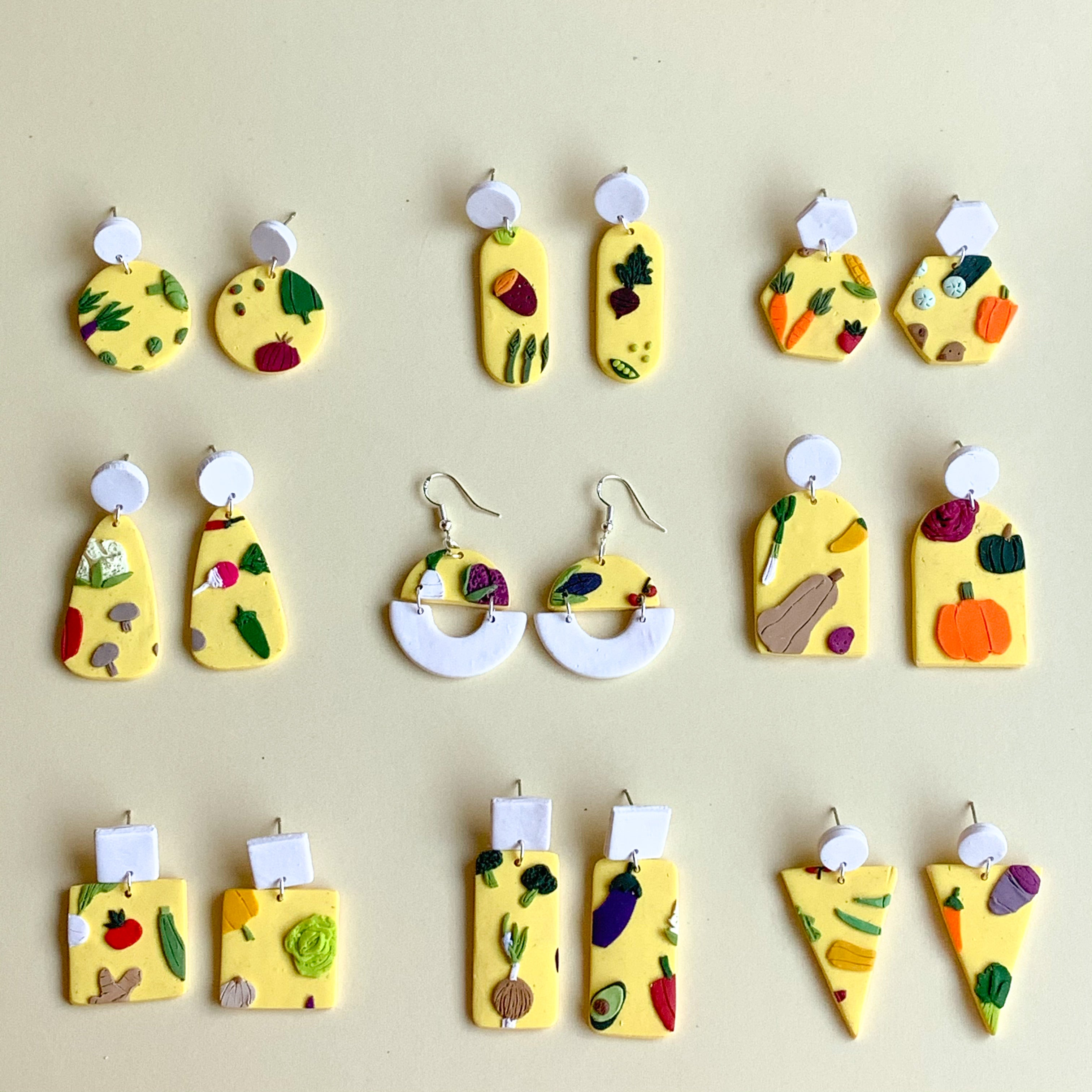 Vegetable Garden Slab Earrings