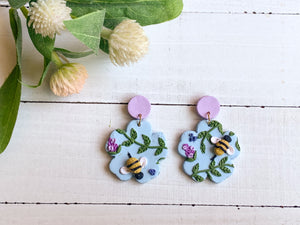 Bee and Lavender Slab Earrings (Flower)