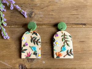 Summer Floral Slab Earrings (arches)