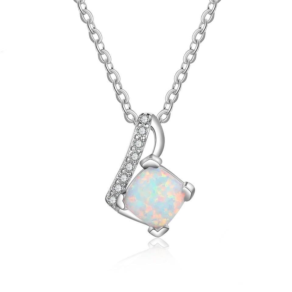 White Fire Opal Necklace