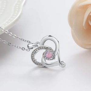 Heart Pink Opal Pendant Necklace