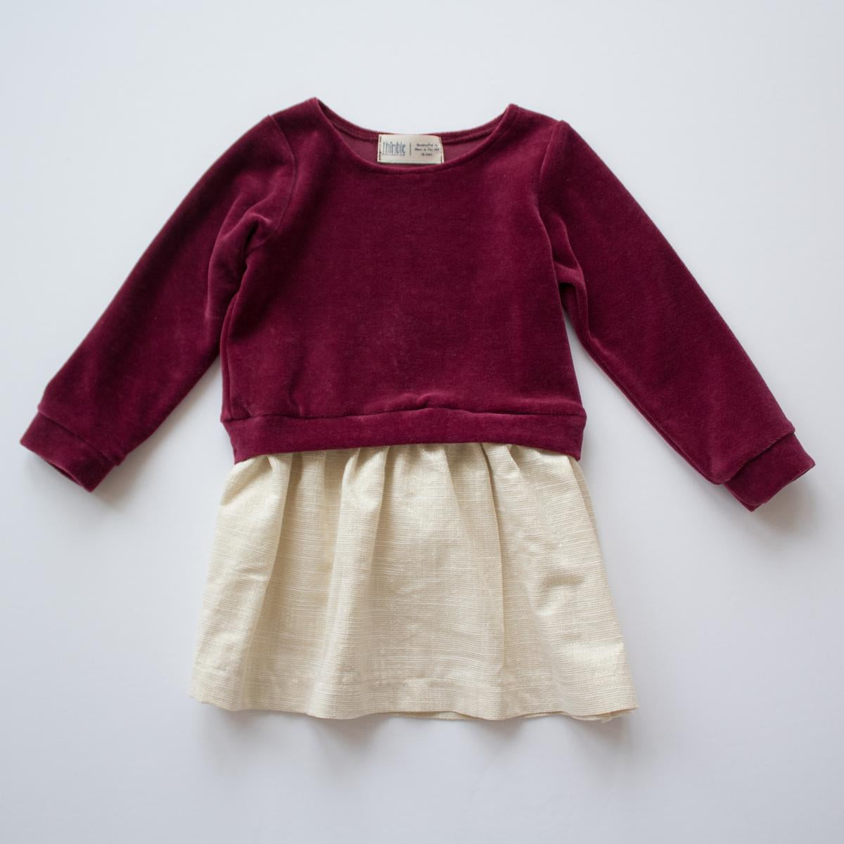Thimble Sweatshirt Dress in Holiday Red