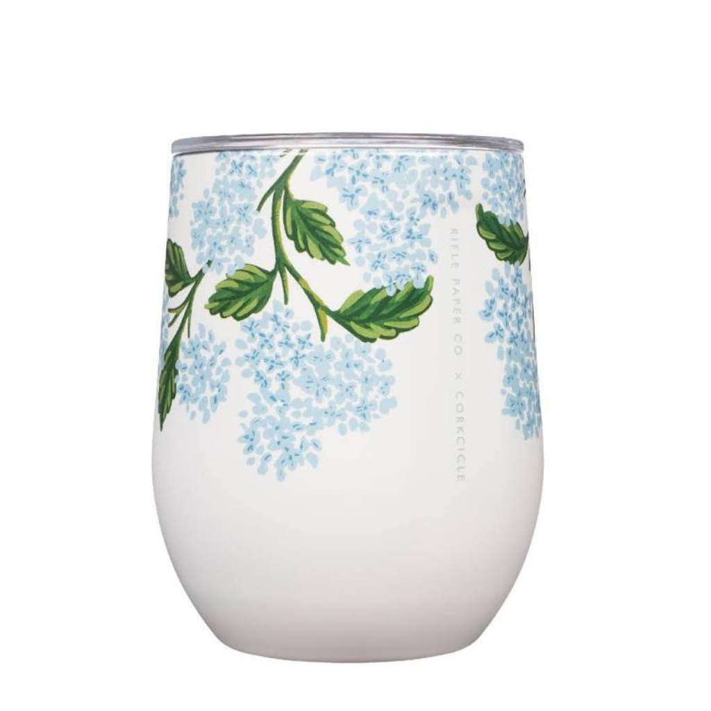 12oz Rifle Paper Stemless Cream Hydrangea