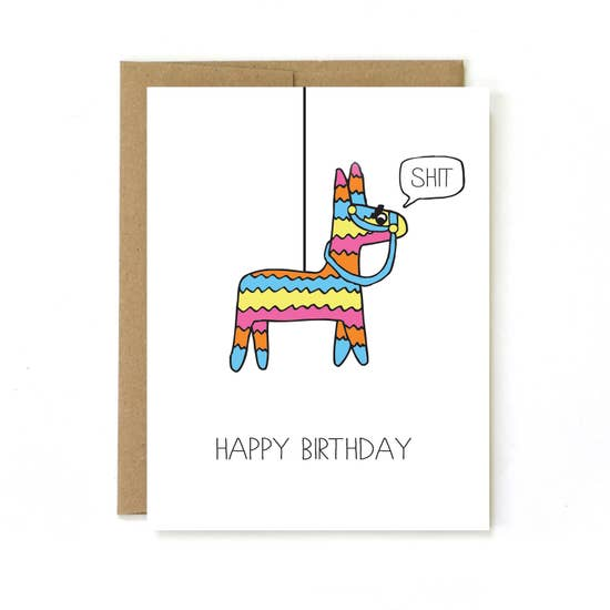 Unblushing Piñata Birthday Card