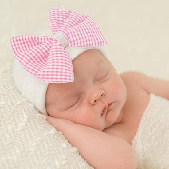 Ily Bean Seersucker Checked Bow Newborn Hat