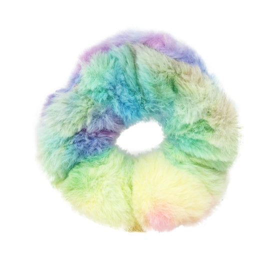 Pink Poppy Rainbow Fur Scrunchie