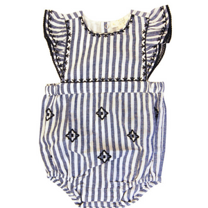 Egg Striped Embroidered Gabriella Romper