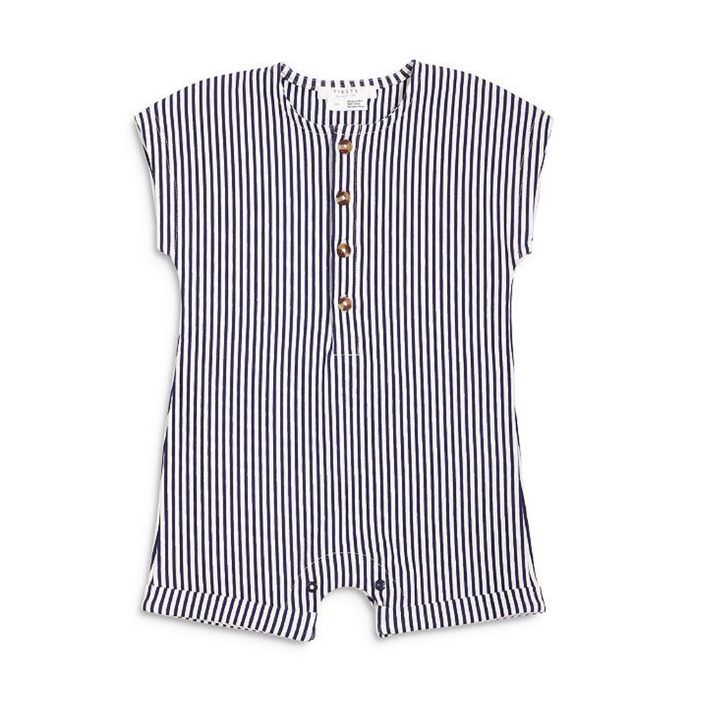Petit Lem Navy Stripe Cannes Play Romper