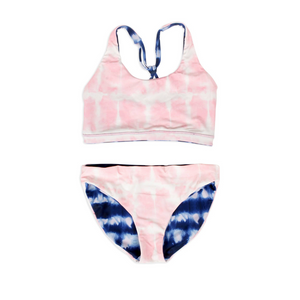 Shade Critters Reversible Bikini in Pink and Navy Tie Dye