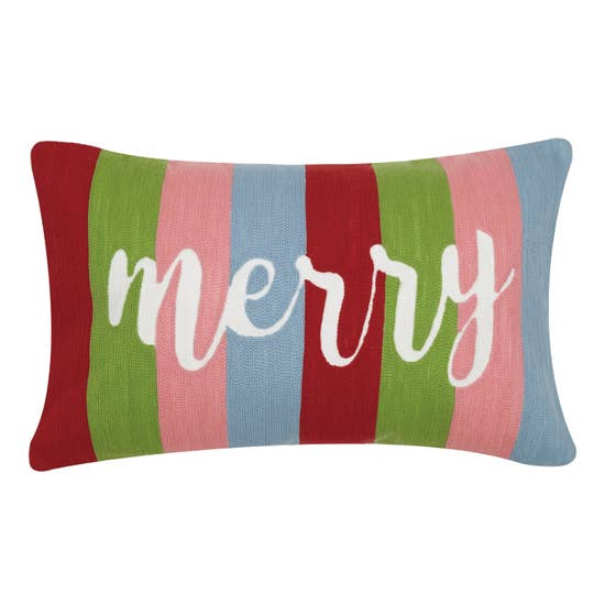 Merry Crewl Stripe Pillow