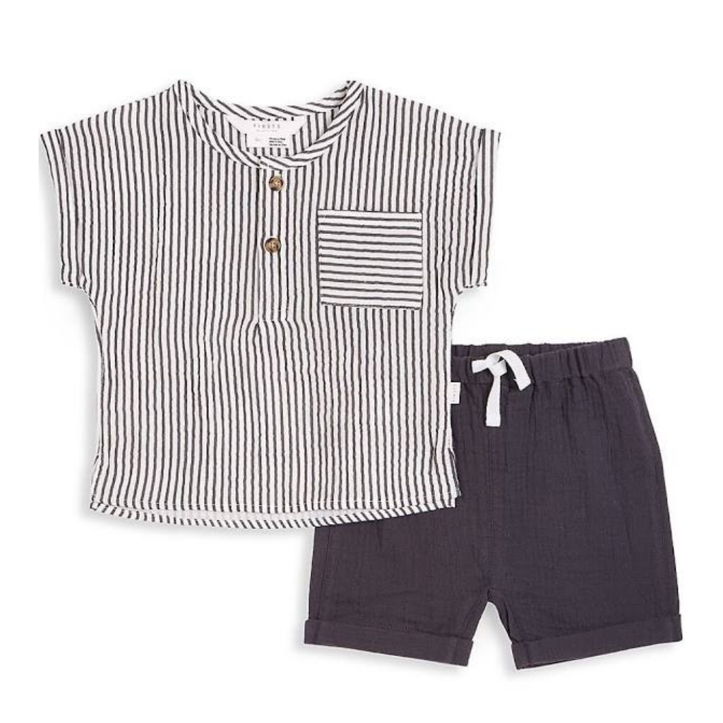 Petit Lem Grey Stripe Woven Top and Knit Pant Set
