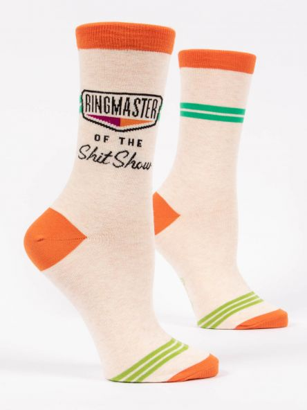 "Blue Q ""Ringmaster of the Shit Show"" Women's Crew Sock"