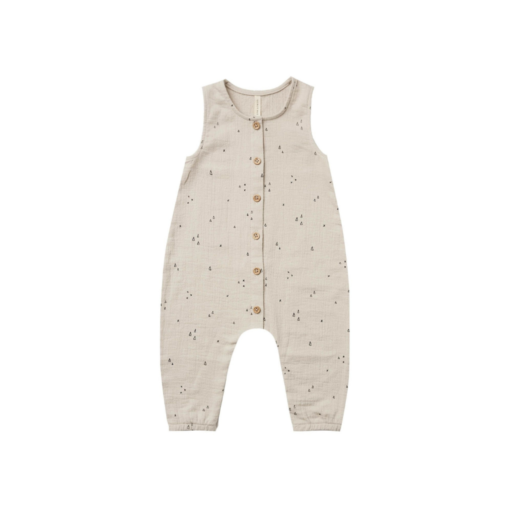 Quincy Mae Woven Button Jumpsuit - Ash
