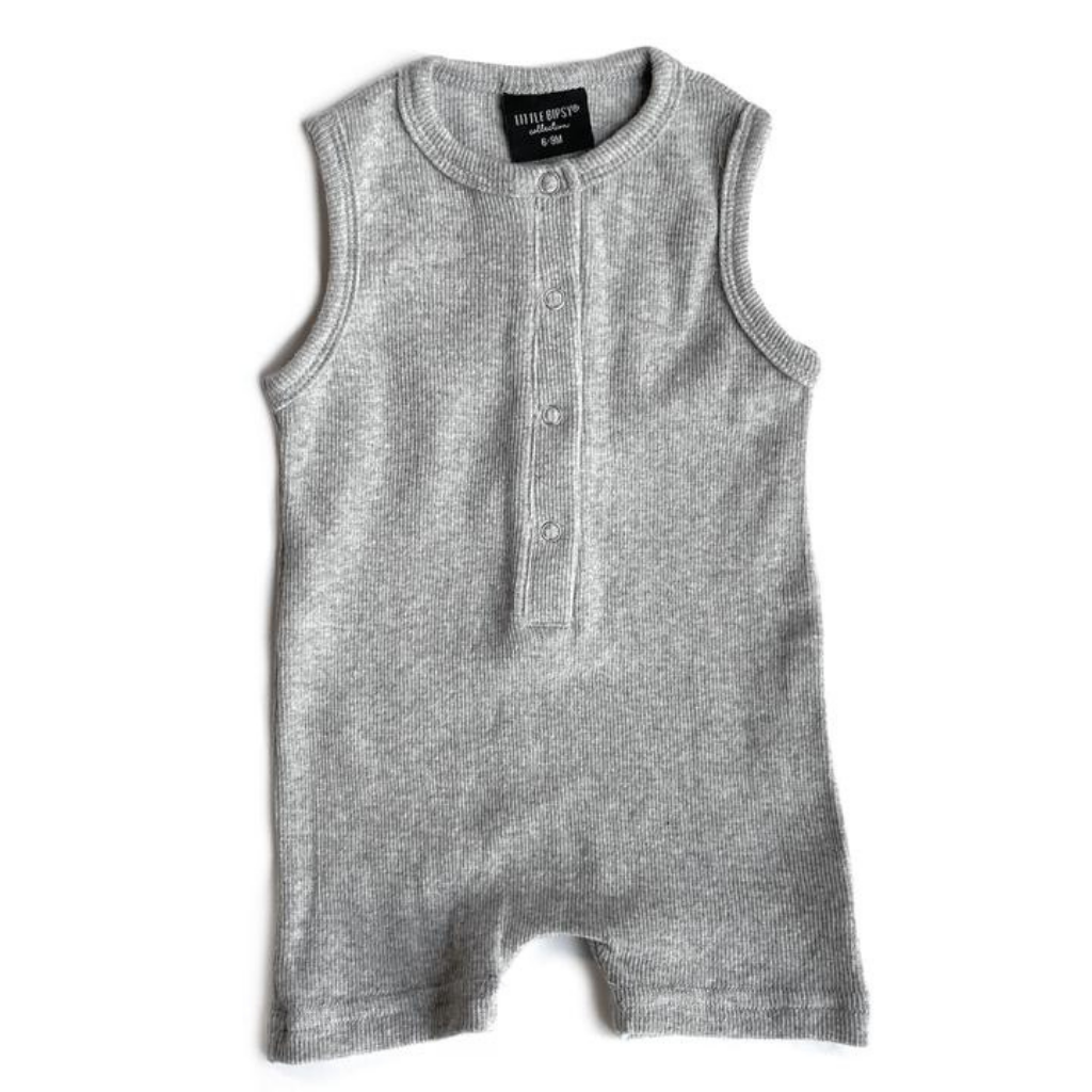 Little Bipsy Grey Ribbed Shorty Romper