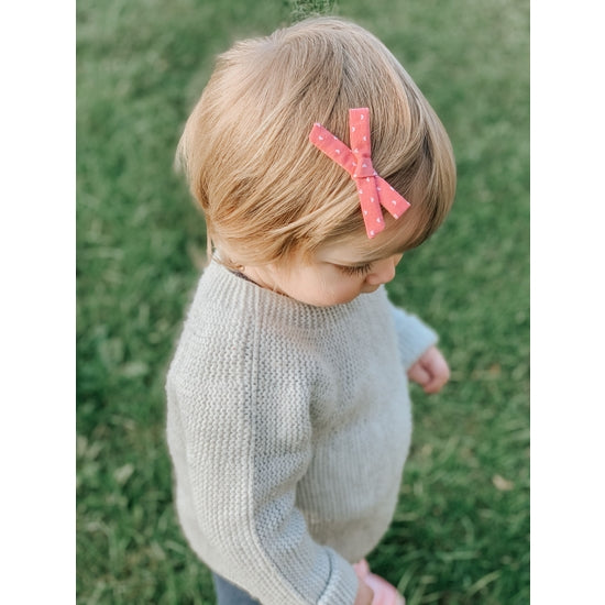 Pink School Hearts Hair Bow