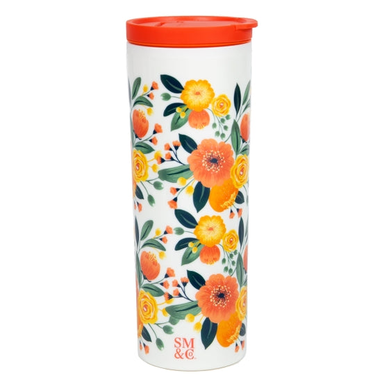 Orange Floral Thermal Mug 16oz