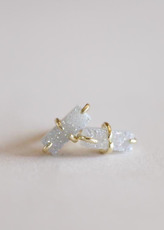 Jax Kelly White Bar Druzy Stud Earring
